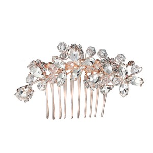 WENZHE wholesale crystal hair accessory flower hair accessories rhinestone wedding hair comb