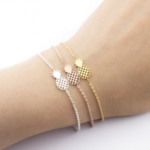 Fashion Charms Bracelet Making Gold Plated Pineapple Stainless Steel Bracelets Women