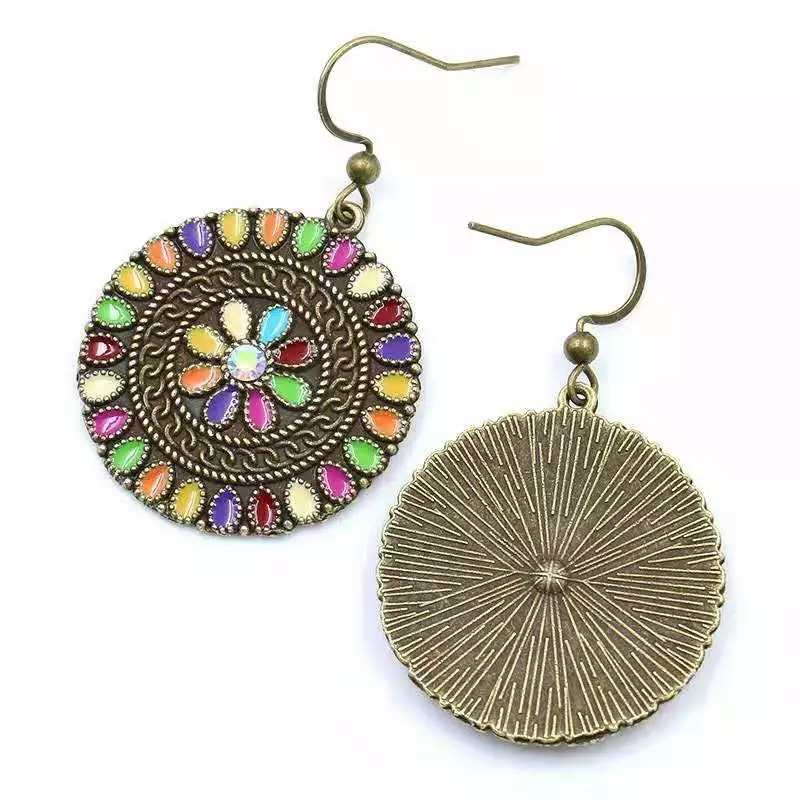 Wholesale Vintage Bohemian Geometric Round Colored Drops Oil Flowers Large Earrings Featured Image