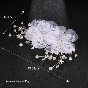 Creative fashion lace flower pearl bride gift wedding alloy headdress hair comb