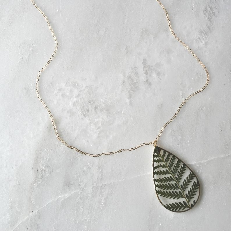 Pressed Fern Necklace Pressed Flower Jewelry Terrarium Necklace Featured Image