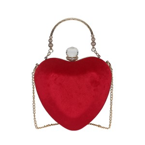 WENZHE Latest Design Winter Fashion Banquet Party Mini Heart Shaped Handbag Shoulder Sling Bag