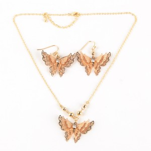 WENZHE Latest Gold Plated Hollow Butterfly Jewelry Set